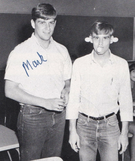 My friend, Mark and me. Journalism class, Olathe High School, 1968.