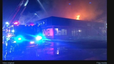 Strip mall fire at 135th and Black Bob in Olathe Monday night, April 13. Olathe Fire Department photo.
